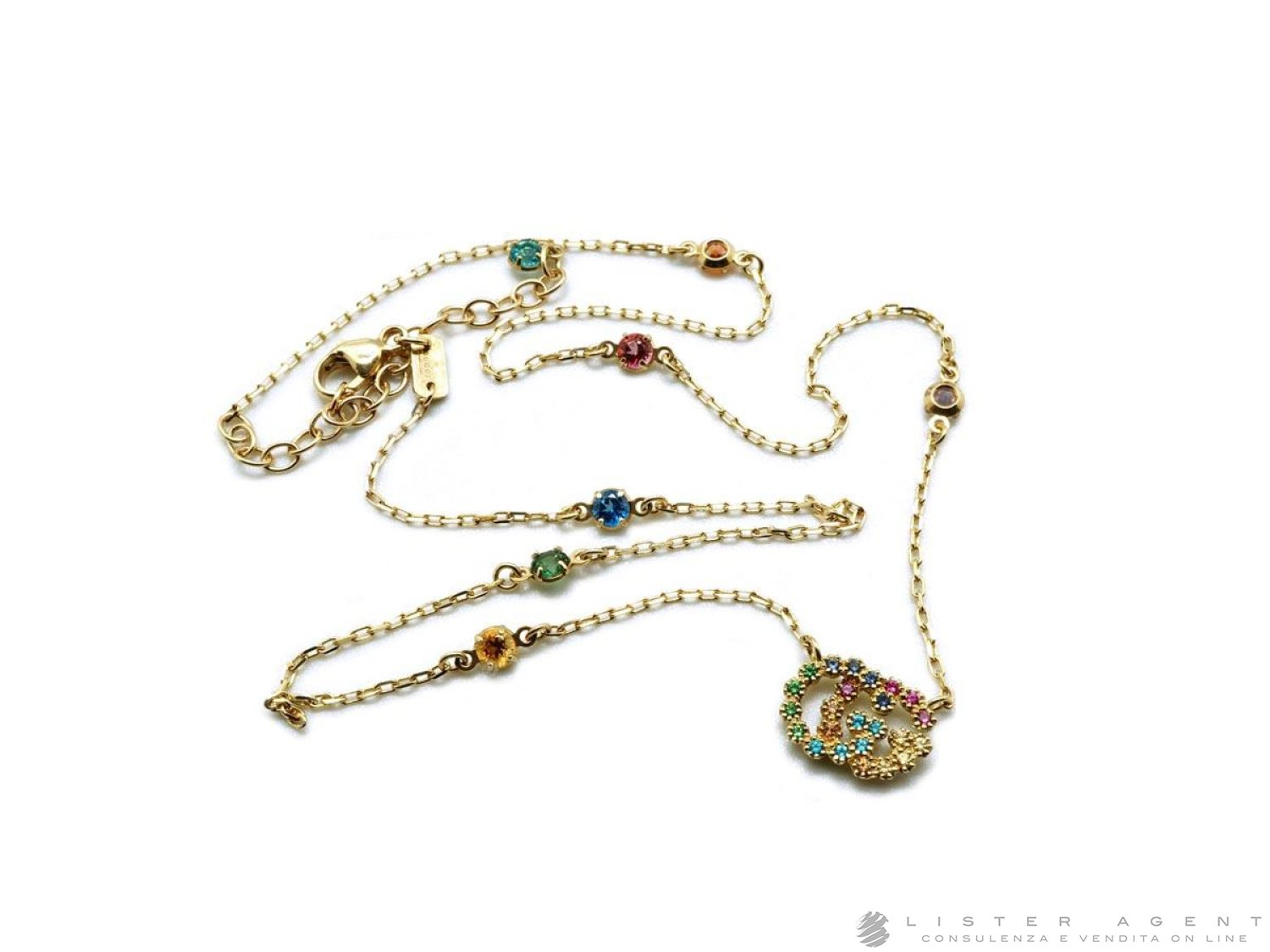 GUCCI Running G necklace in 18Kt yellow gold with natural stones Ref. YBB48162300100U. NEW! price and features