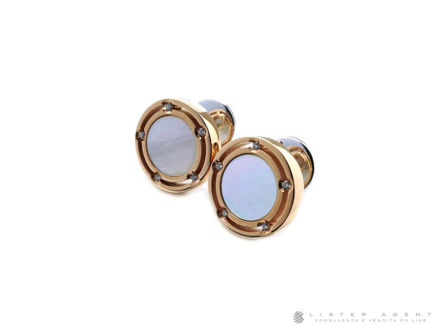 DAMIANI D.Side earrings in 18Kt rose and white gold with diamonds ct 0.05 and mother of pearl Ref. 20080439. NEW! price and features
