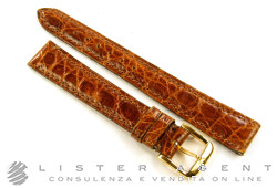 OMEGA strap in leather of brown crocodile MM 14,00 with buckle yellow goldplated steel. NEW!