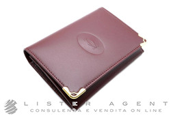 CARTIER 2cc business card holder in bordeaux leather Ref. L3000455. NEW!