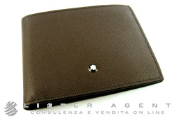 MONTBLANC Meisterstück Selection horizontal wallet 6cc in leather grigia Ref. 109647. NEW!