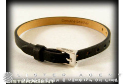 FERRARI by Damiani bracelet in 925 silver and black leather Ref. 20040496. NEW!