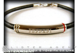 FERRARI by Damiani bracelet in 925 silver and black leather Ref. 20040491. NEW!