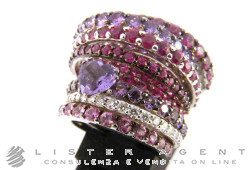 STEFAN HAFNER ring in 18Kt white gold with semi-precious stones Size 13,50 Ref. 03166RG01-04. NEW!