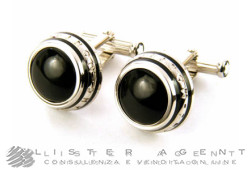 MONTBLANC cufflinks Classic Collection Round 3 Anelli in steel and onyx Ref. 104497. NEW!