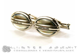 MONTBLANC cufflinks Classic Collection Oval 3 Anelli in steel and grey mother of pearl Ref. 107048. NEW!