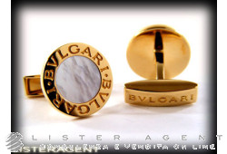 BULGARI cufflinks Bulgari-Bulgari in 18Kt yellow gold and mother of pearl Ref. GM853693-341122. NEW! -35%