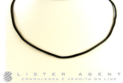 CHANTECLER necklace in silk  Black and 18Kt white gold Ref. 23242. NEW!