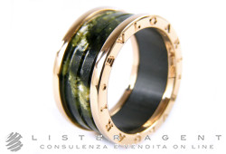 BULGARI ring Bzero1 in 18Kt rose gold and green marble Size 24 Ref. AN856221. NEW!