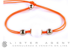 KIDULT bracelet College in 925 silver with white agate faceted and orange line Ref. A14. NEW!