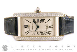 CARTIER Tank Americaine Midsize in 18Kt white gold and diamonds Argentè AUT Ref. 2490. USED!