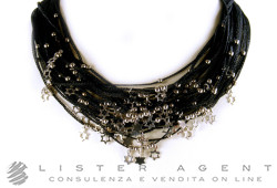 PIETRO BALESTRA necklace multifilo in brunished 925 silver Black. NEW!