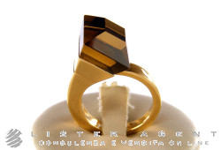 GUCCI ring Chiodo Cocktail in 18Kt yellow gold and fumè quartz Size 13 Ref. 205795. NEW!