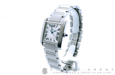 CARTIER Tank Francaise Large Automatic Model in steel Argentè Ref. W51002Q3. USED!