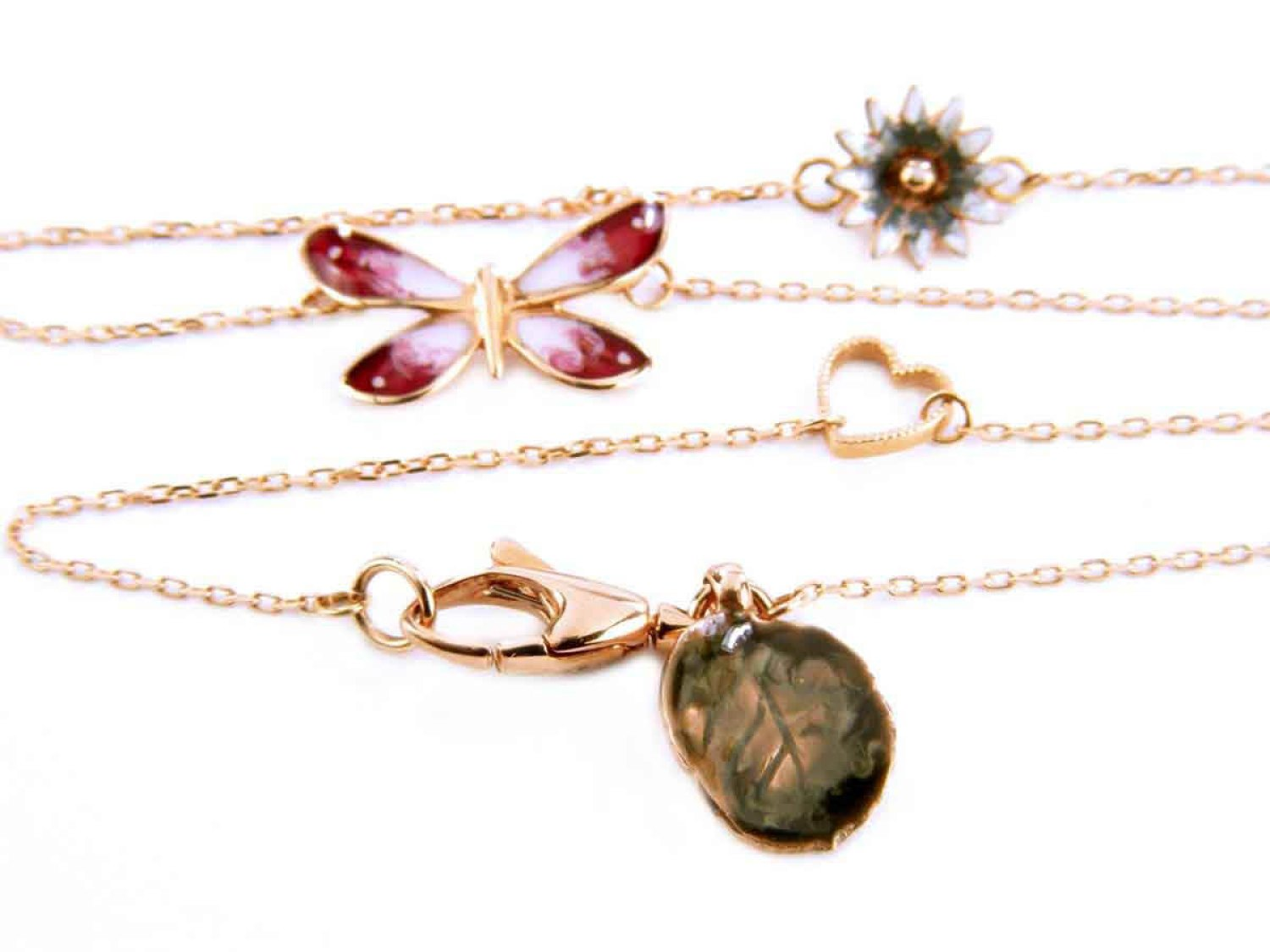 2f45401854f GUCCI necklace Flora in 18Kt rose gold with ruby and enamel Ref.  YBB38914500100U. NEW!   Lister Agent