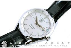 TAG HEUER Carrera Twin-Time Automatico in acciaio Argenté AUT Ref. WV2116.FC6180. NUOVO!
